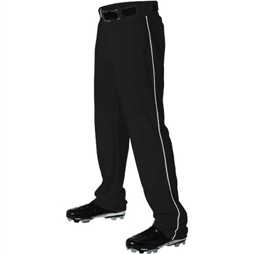Alleson Ahtletic Boys Youth Baseball Pants with Braid, Black/White, Small by Alleson Ahtletic