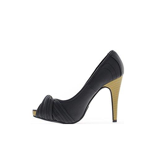 Escarpins femme ouverts noirs à talons de 11cm et plateforme de 2,5cm