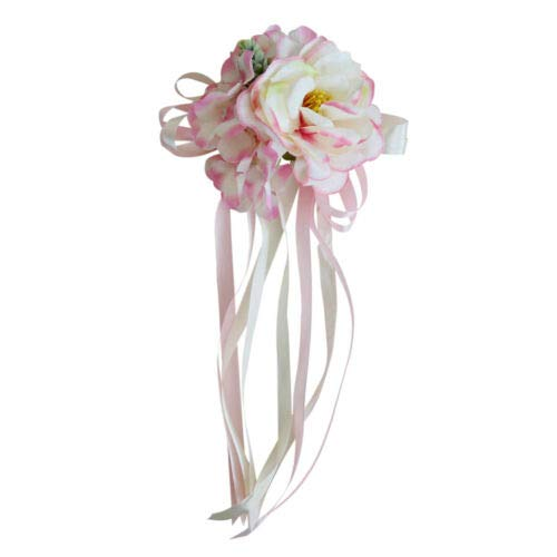 (FidgetKute Artificial Rose Ribbon Flowers for Wedding Car Mirror Door Handle Decoration Pink)