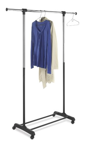 Whitmor Adjustable Rolling Garment Rack with (Whitmor Adjustable Garment Rack)