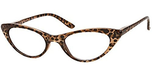 The Brit Cat Eye Reading Glasses, Full Frame Readers for Women +1.75 Brown Leopard (1 Microfiber Cleaning Pouch - Cat Reading Eye Glasses Large