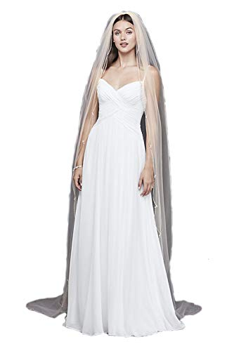(Passat Ivory 1T Long Cathedral Gold Sparkling Beads Scallop Trimmed Wedding Bridal Veil New137)