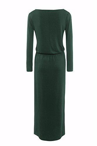 Army Womens Dreamskull Maxi Green Long Dress Sleeve Tunic Long with Pockets zwwSR
