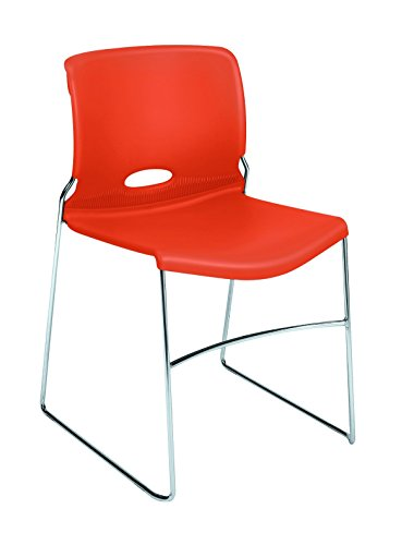 Hon Stacking Chair - HON Olson Stacking Chair - Guest Chair for Office, Cafeteria, Break Rooms, Training or Multi-Purpose Rooms, Tangelo/Orange Shell, 4 pack (H4041)