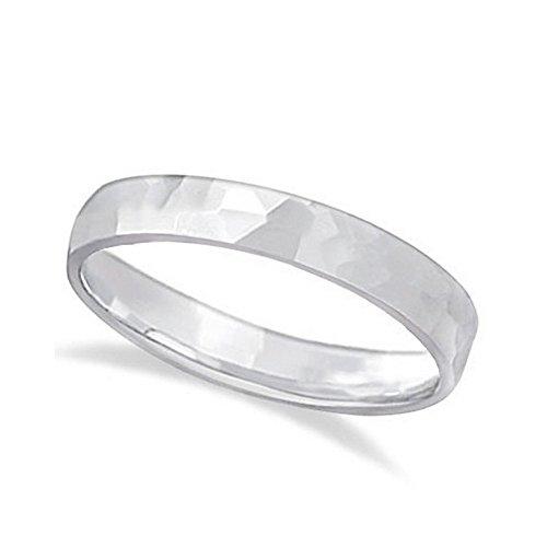 Band Wedding Carved White Gold - Carved Hammered Finish Wedding Ring Band 18k White Gold (3mm)