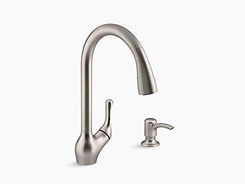 - Kohler K-R776-SD-VS Barossa Pull-Down Kitchen Faucet with Soap/Lotion Dispenser in Vibrant Stainless Finish