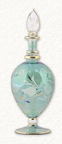 Home and Holiday Shops Green Floral Etched Egg Egyptian Blown Pyrex Glass Perfume Bottle Made in Egypt