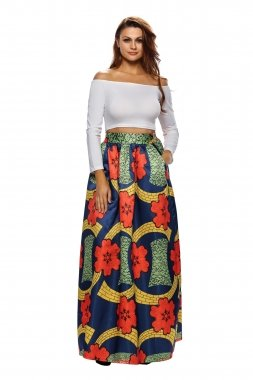 Eu Floreale Stampa 38 Maxi Africano Colorful Navy Gonna 4F1ZwxqC