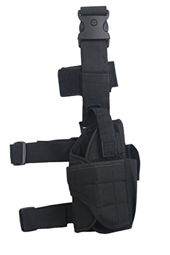 Tactical Leg Holster - Adjustable Pistol Hand Gun Drop Leg Thigh Holster Harness W/ Magazine Pouch Right Handed Bundled With Skull Face Tube Mask(Black Right Leg Holster)
