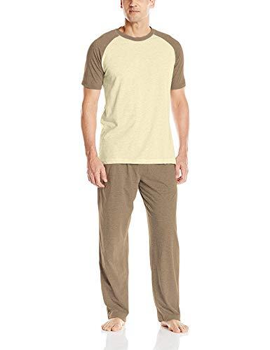 (Hanes Men's Adult X-Temp Short Sleeve Cotton Raglan Shirt and Pants Pajamas Pjs Sleepwear Lounge Set - Coffee Heather (Medium))