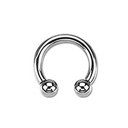 Black Titanium Circular Barbell (16G, 14G, 12G Horseshoe Circular Barbell 316L Surgical Steel Internally Threaded - Sold Individually (16G L: 5/16
