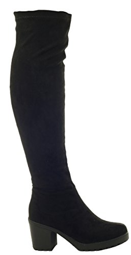 Ladies Womens Black Slouch Style High Block Heel Winter Stretch Mid High Knee Boots Size Style P - Black