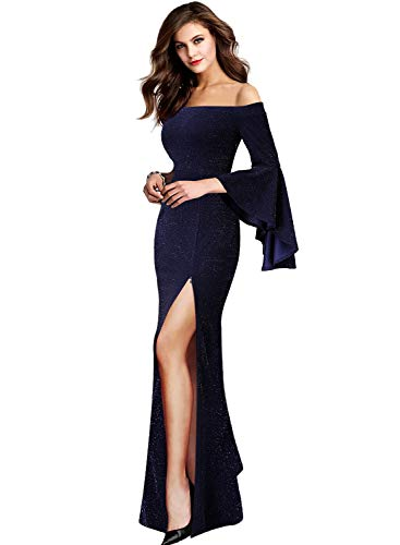VFSHOW Womens Shiny Dark Blue Off Shoulder Ruffle Bell Sleeve High Slit Formal Evening Wedding Maxi Dress 2362 BLU XS