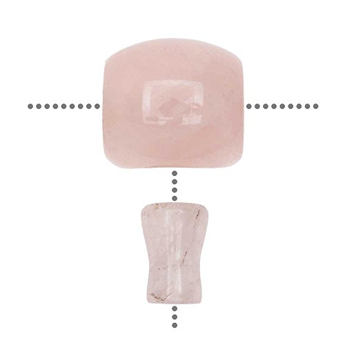 Rose Quartz Gemstone Guru Beads, Barrel 18mm, 1 Set, Pink