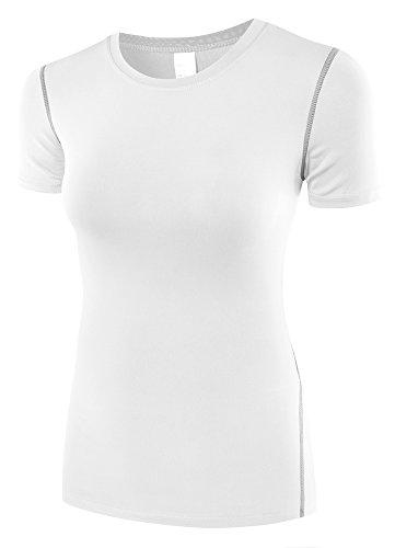 HuaTu Women Performance Compression Base Layer Short Sleeve Crew Neck Tops Tee T Shirts (White, US Sizes M) ()