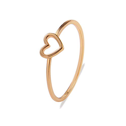 Dangslxm Simple Hollow Heart Shape Cut Ring, Women Girls Silver Gold Plated Promise Band Ring Jewelry Sets, Size 6/7/8/9/10