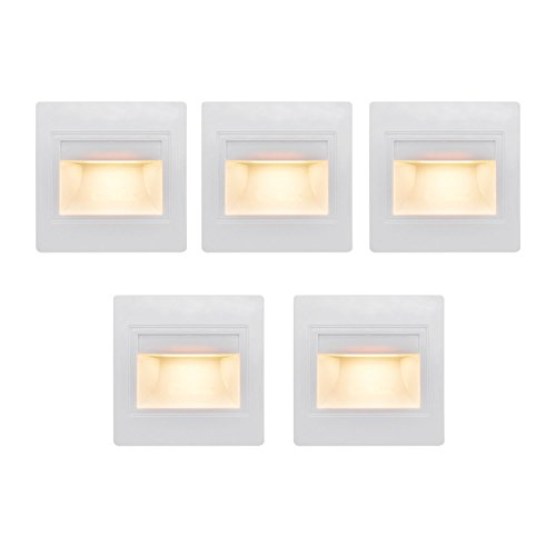 BOLXZHU LED Indoor Step Light 5 Pack Corner Wall Lamp Night Lighting Fixture LED Recessed Mini Stair Light 2.5W 6000K Cold White
