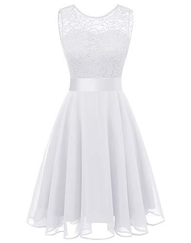 BeryLove Women's Short Floral Lace Bridesmaid Dress A-line Swing Party DressBLP7005WhiteL (White Chiffon Short Dress)