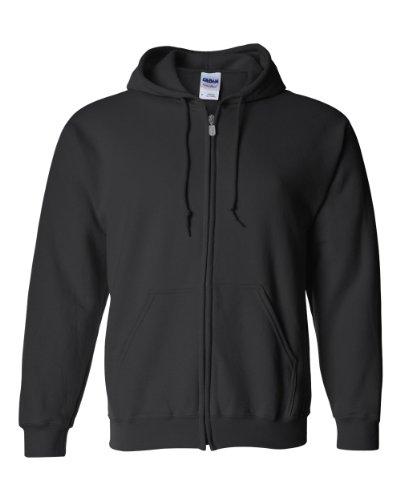 Gildan Activewear 50/50 Full-Zip Hooded Sweatshirt, L, Black