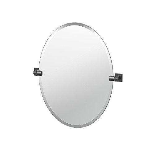 Oval Matte - Gatco 4059MX Elevate Frameless Oval Mirror, Matte Black, 26.5