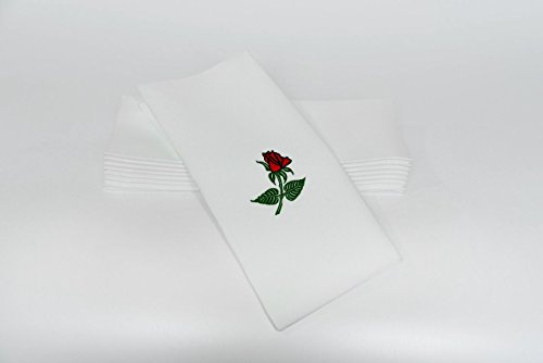 "SimuLinen Dinner Napkins – Red Rose – Decorative Cloth Like & Disposable Large Napkins – Soft, Absorbent & Durable (19""x17"" – Box of 60) (High Paper Napkins End)"