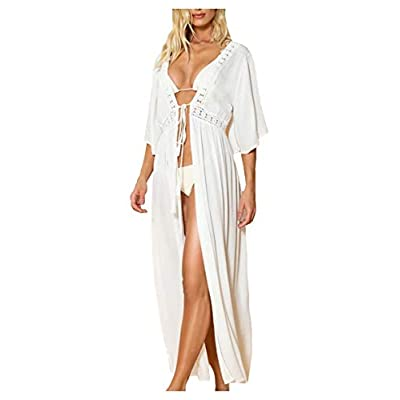 Wander Agio Womens Bikini Loose Cover Ups Beach Casual Dress Coverup Swimsuits Long Cardigan Backless White 25 at Women's Clothing store