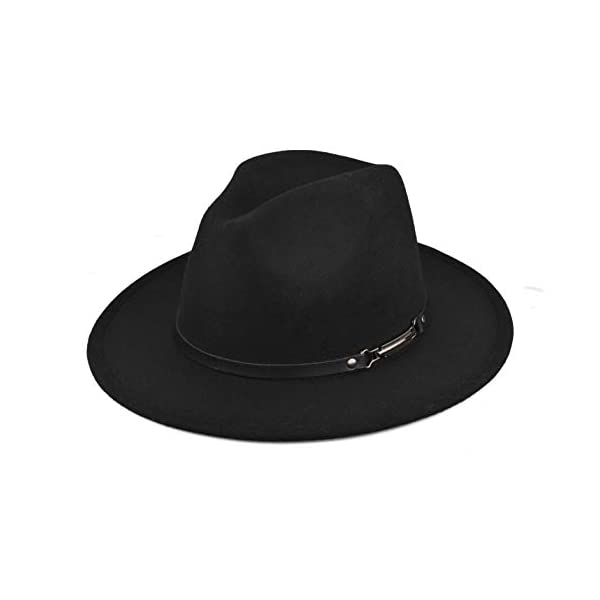 EINSKEY Womens Felt Fedora Hat, Wide Brim Panama Cowboy Hat Floppy Sun Hat for Beach Church