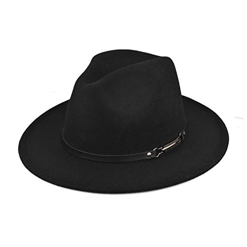 EINSKEY Womens Felt Fedora Hat, Wide Brim Belt Buckle Panama Hat Fashion Sun Hat Top Hat Black
