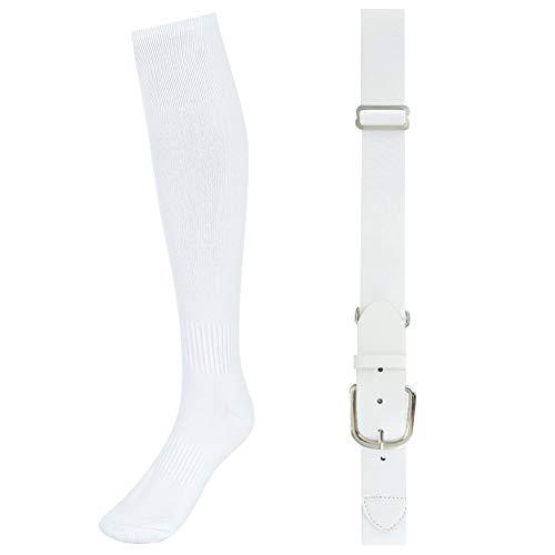 (Skedee Baseball Belt & Socks Combo Set, Softball Football Soccer Socks Baseball Belt Combo Set for Adult(White))