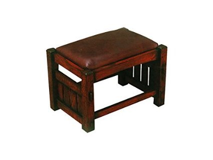 Crafters And Weavers Mission Oak Foot Stool Leather Upholstered