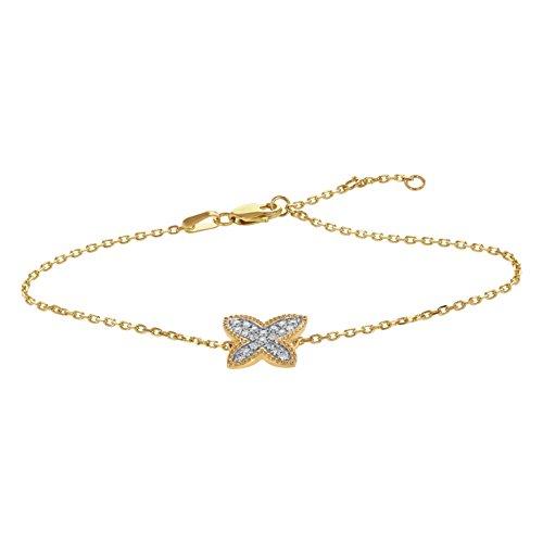14k Yellow Gold Pavé Diamond Butterfly Bracelet (1/5 cttw, H-I Color, I1 Clarity) by Olivia Paris Fine Jewelry