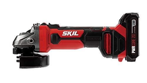 SKIL 20V 4-1/2 Inch Angle Grinder, Includes 2.0Ah PWRCore 20 Lithium Battery and Charger - AG290202 ()