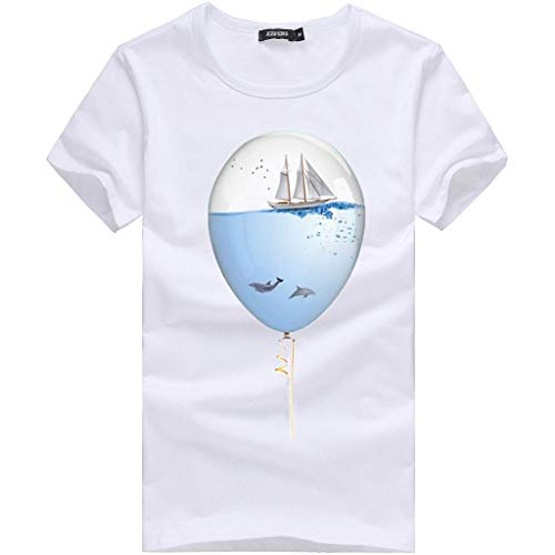 Willsa Mens Shirts, Unisex Solid Color Balloon Printing Tees Shirt Short Sleeve Casual Couples Tops Blouse White by Willsa (Image #1)