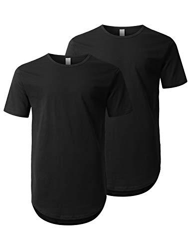 URBANCREWS Mens Hipster Hip Hop Elong Round Hemline Crewneck T-Shirt (2 Pack) XXL