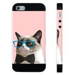 Houseofcases Hipster Grumpy Cat Geek Glass Bowtie iPhone 4/4S Case - Hybrid Plastic And Durable Silicon iPhone 4/4S Case
