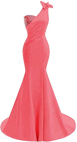 Lily Wedding Womens One Shoulder Satin Mermaid Prom Dresses 2018 Long Formal Evening Ball Gowns D44 Coral Size 14