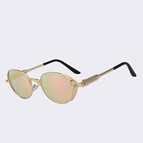 Hombres dibujo punk s400 de de plata Gafas sol de gafas Retro sol de Mujeres Mujer humo Gold de del de calidad w UV TIANLIANG04 alta metal estilo Vintage gafas mirror pink marca oval qvz0qw