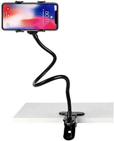 Gooseneck Cell Phone Holder,Universal Mobile Phone Clip Stand, Cell Phone Clip Holder for Bedroom Desktop Office Bathroom Kitchen, Rotate Freely Lazy Bracket Holder