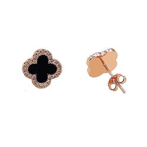 Hypoallergenic Lucky Four Leaf Clover Classic Black Stud Earring for Women & Girls (Rose Gold)