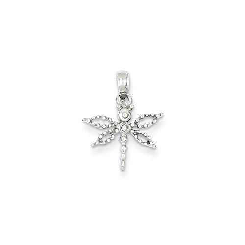 14K White Gold Mini Dragonfly Charm Pendant