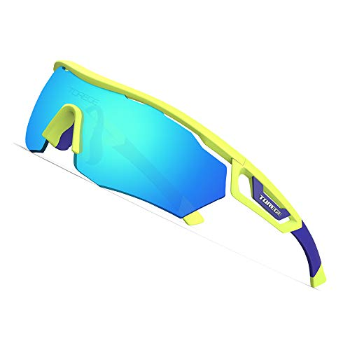 TOREGE Polarized Sports Sunglasses with 3 Interchangeable Lenes for Men Women Cycling Running Driving Fishing Golf Baseball Glasses TR05 ()
