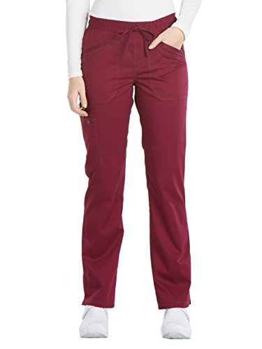 Dickies Women's Essense Mid Rise Straight Leg Drawstring Pant, Wine, XX-Small Petite