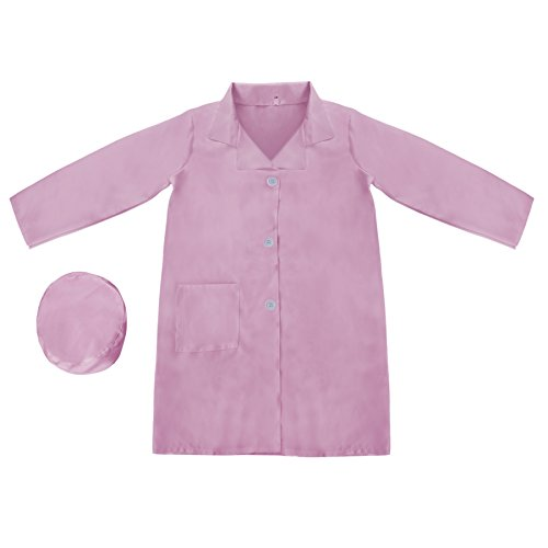 [TopTie Kid's Lab Coat with Cap, For Kid Scientists or Doctors-Pink-5/6] (Pink Doctor Costumes)