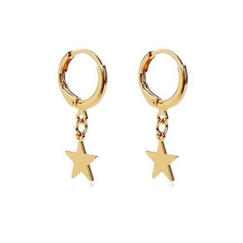 Women Girls Small Hoop Drop Earrings Star Moon Pearl Triangle Feather Dangle Earrings (Gold Star)