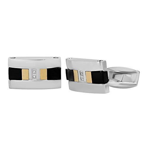 Men's Stainless Steel and 18K Gold Titanium Tri-Tone Diamond Accent Cufflinks - 18k Diamond Cufflinks
