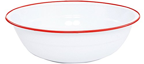 Crow Canyon - Enamelware Timpano Basin - Solid White with Red Rim