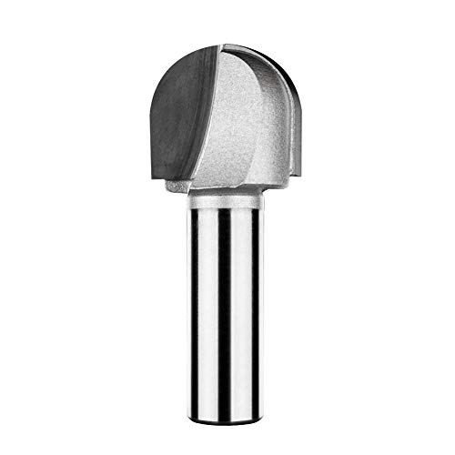 Autoly 1-inch Cutting Dia Round Nose Bit Tungsten Steel Core Woodworking Router Bit with 1/2-inch Straight Shank ()