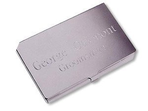 Silver Plated Business Card Case - Free Engraving ()