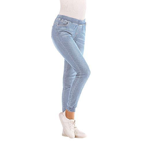 Azul Pantalones Elastic del Plus elásticos recortados Vaqueros Las Ocasionales de 2018 Claro del otoño otoño de Longra más Mujeres qRdTzvqw