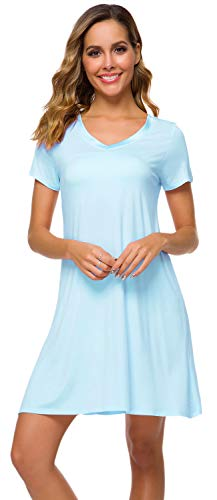 WiWi Women's V Neck Bamboo Nightgown Soft Short Sleeve, Pale Blue, 4X-Large ()